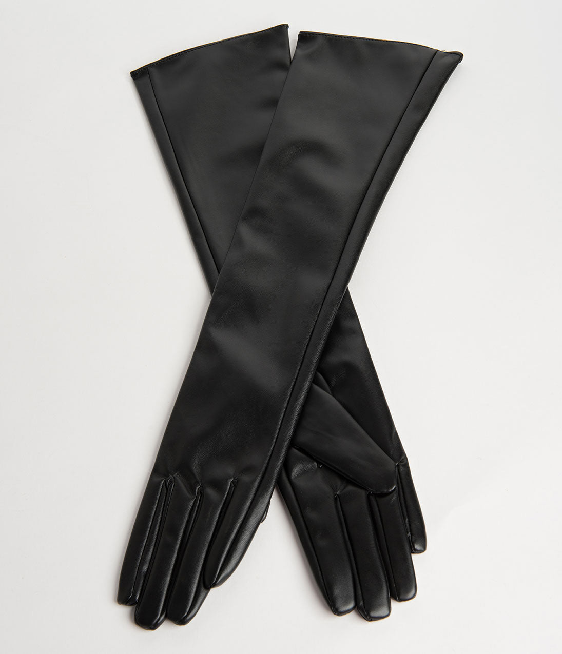 Victorian Gloves | Victorian Accessories Vintage Style Black Leatherette Opera Gloves $18.00 AT vintagedancer.com