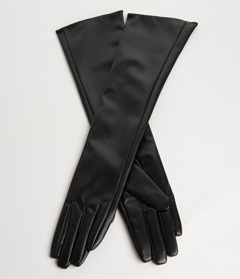 Vintage Style Black Leatherette Opera Gloves