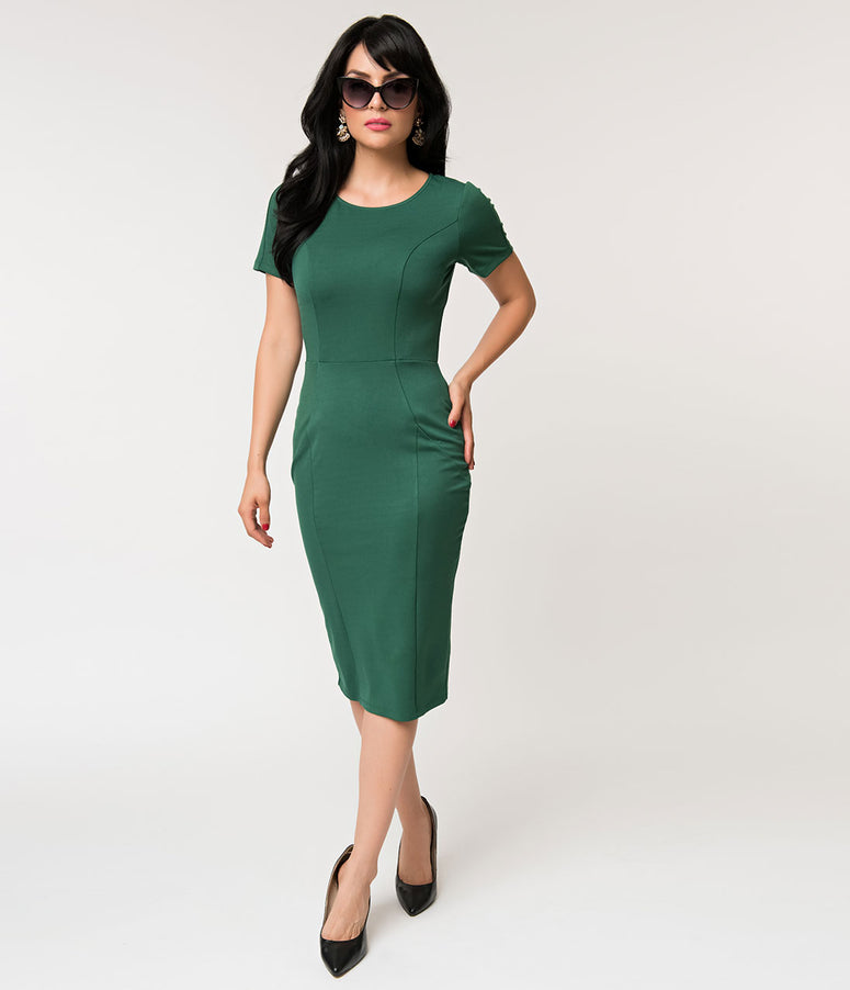 Unique Vintage 1960s Emerald Green Short Sleeve Stretch Mod Wiggle Dress