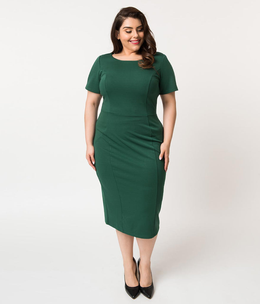 Unique Vintage Plus Size 1960s Emerald Green Short Sleeve Stretch Mod Wiggle Dress