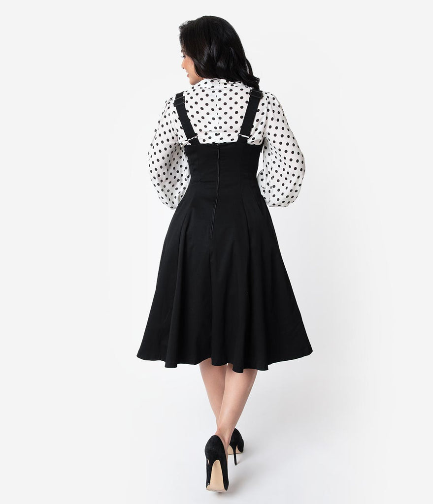 Unique Vintage 1950s Black High Waisted Amma Suspender Swing Skirt
