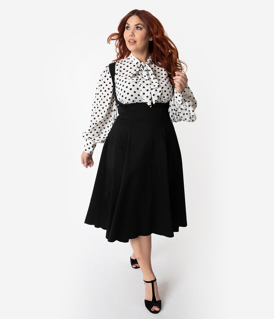 Unique Vintage Plus Size 1950s Black High Waisted Amma Suspender Swing Skirt 8cd85530d29