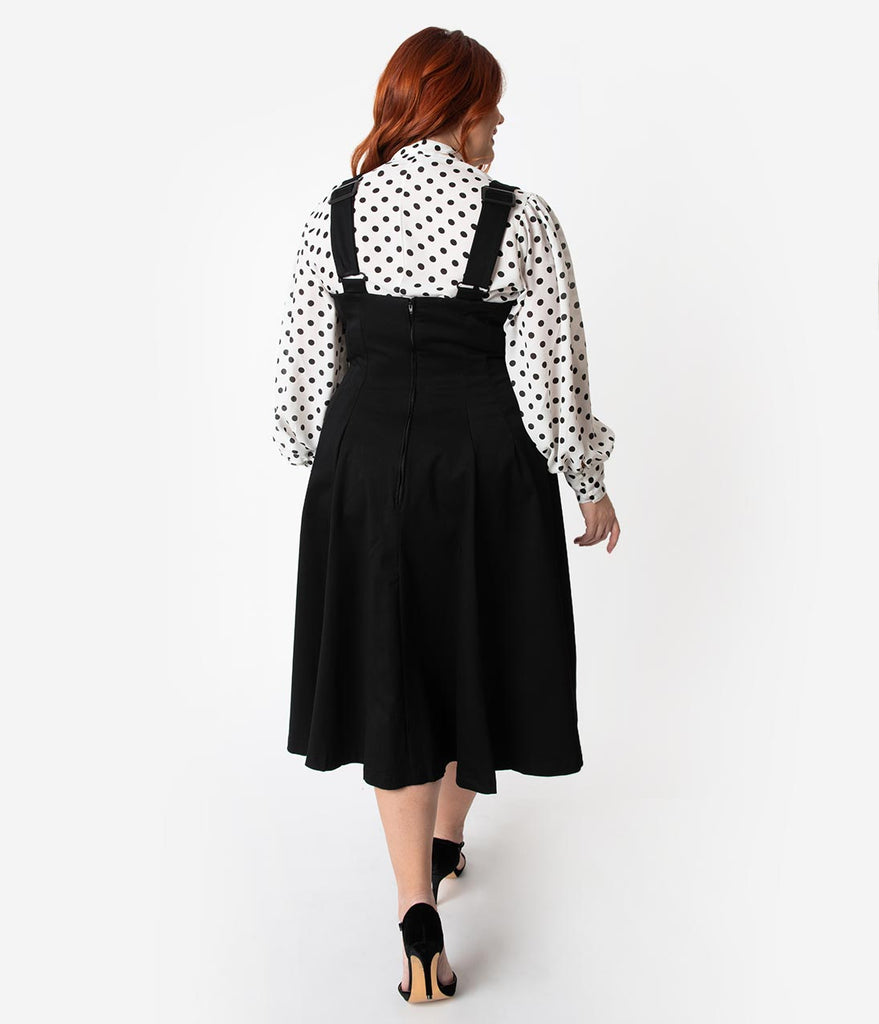 Unique Vintage Plus Size 1950s Black High Waisted Amma Suspender Swing Skirt