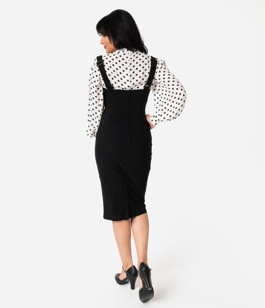 Unique Vintage Black Stretch High Waisted Fontaine Suspender Pencil Skirt