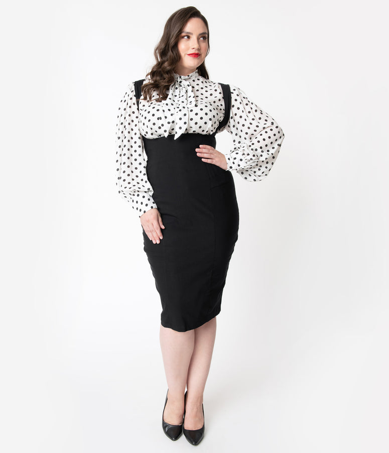Unique Vintage Plus Size Black Stretch High Waisted Fontaine Suspender Pencil Skirt