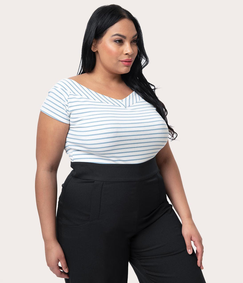 9397f8961c503 Unique Vintage Plus Size 1950s Style Light Blue   White Striped Stretch Knit  Deena Top