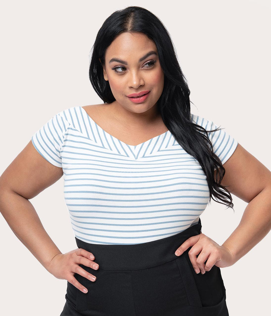 Unique Vintage Plus Size 1950s Style Light Blue & White Striped Stretch Knit Deena Top