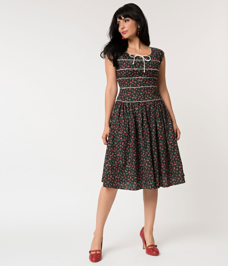 Unique Vintage 1940s Style Black Cherry Print Jeanie Swing Dress