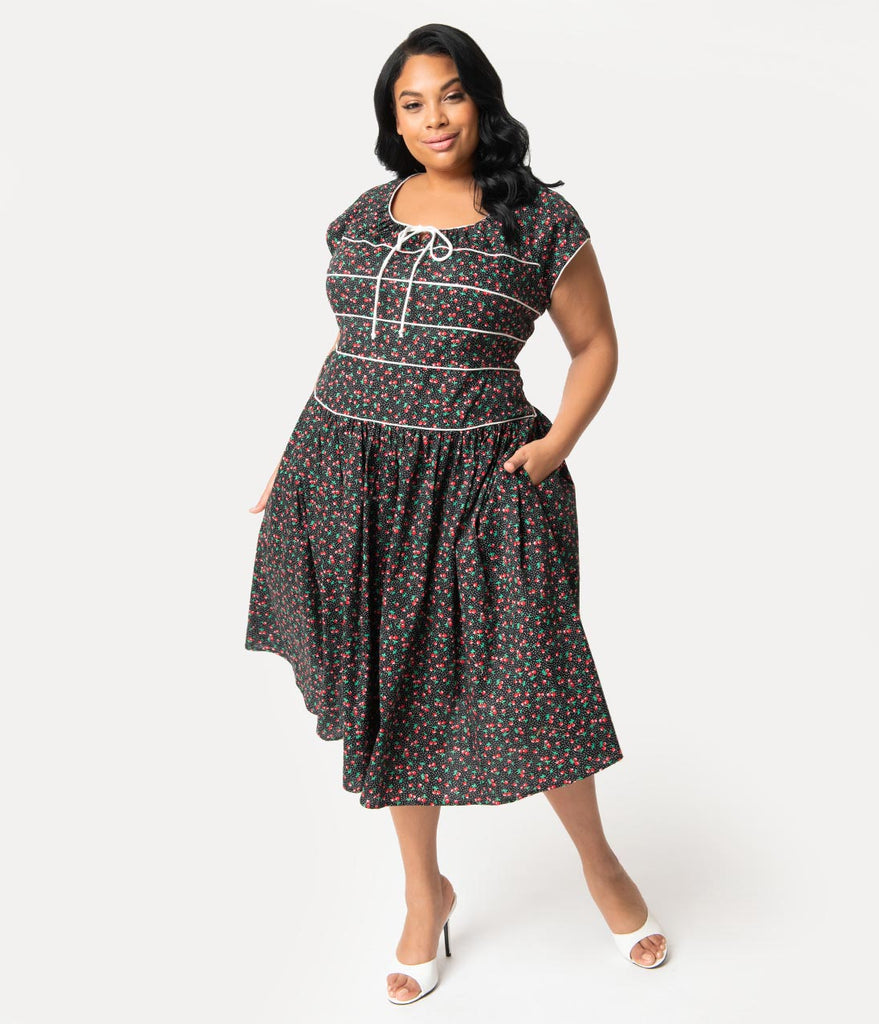 Unique Vintage Plus Size 1940s Style Black Cherry Print Jeanie Swing Dress
