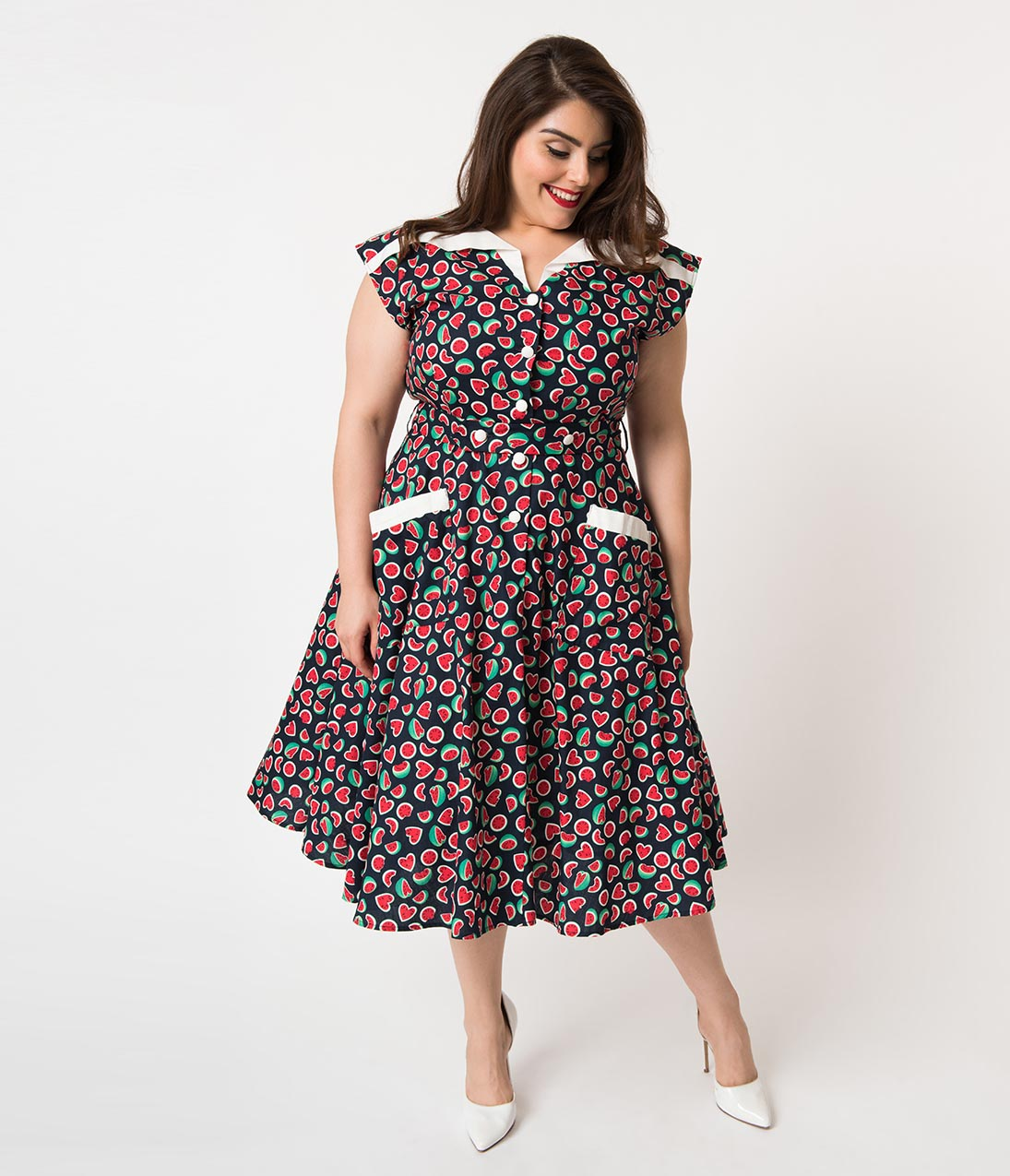 1950s Fashion History: Women's Clothing Unique Vintage Plus Size 1950S Style Navy Watermelon Print Cap Sleeve Hedda Swing Dress $88.00 AT vintagedancer.com
