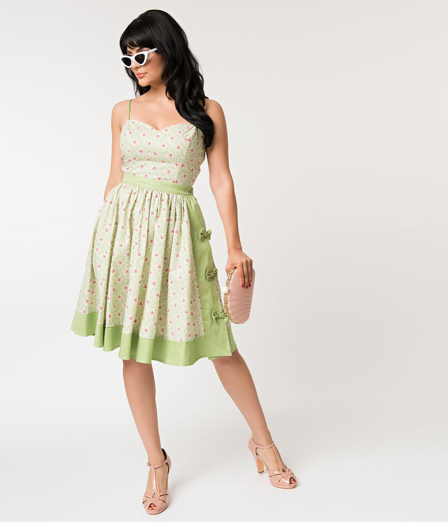 Unique Vintage Mint Green & Polka Dot Floral Rye Swing Skirt