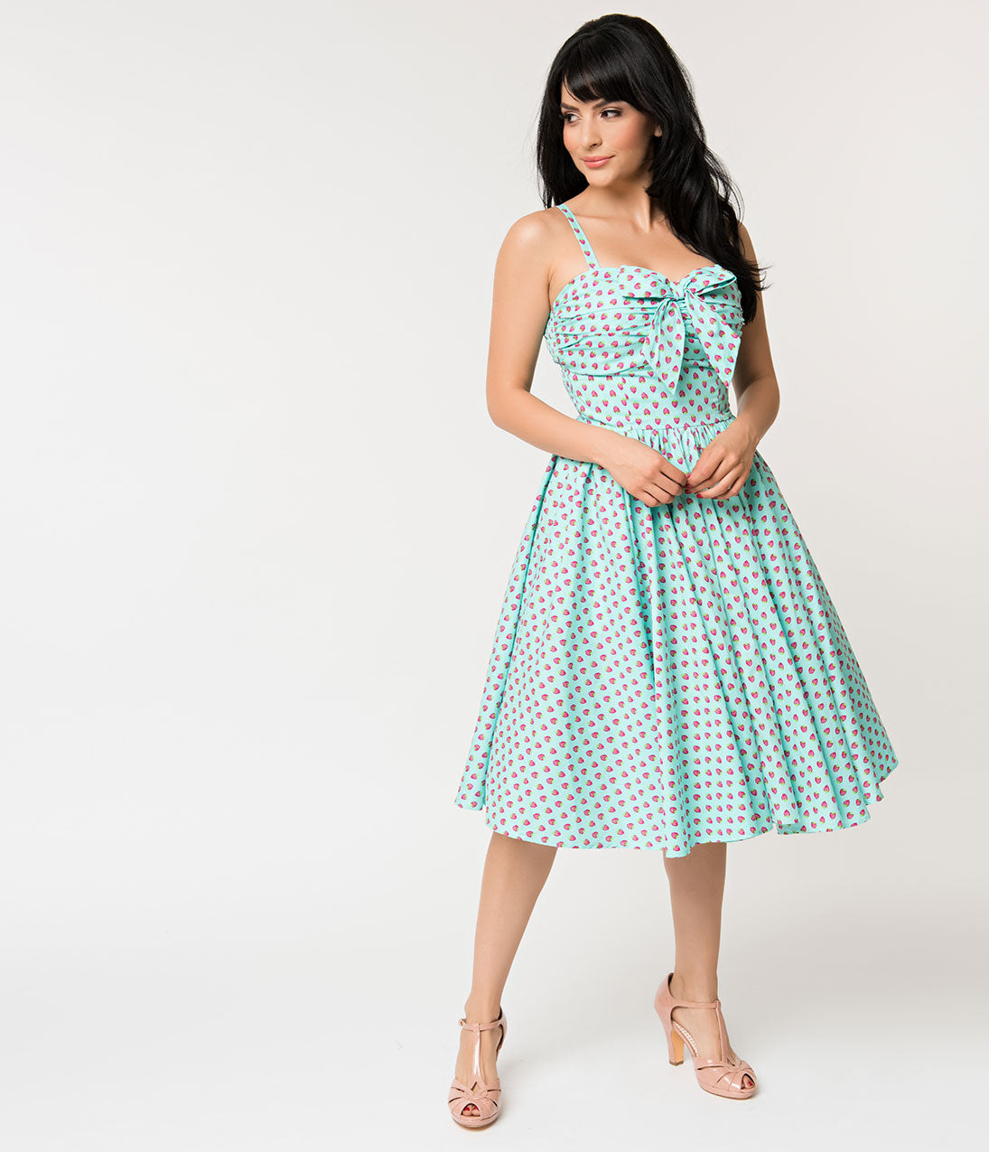 42e2aa1038bed Unique Vintage 1950s Turquoise Blue & Pink Strawberry Print Golightly Swing  Dress