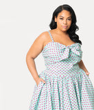 Unique Vintage Plus Size 1950s Turquoise Blue & Pink Strawberry Print Golightly Swing Dress