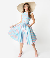 Strapless Elasticized Waistline Swing-Skirt Gathered Striped Print High-Neck Sleeveless Cotton Dress With a Sash