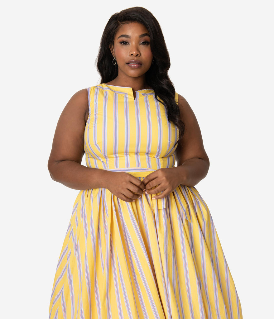 Unique Vintage Plus Size Yellow & Purple Stripe Sleeveless Indy Sundress