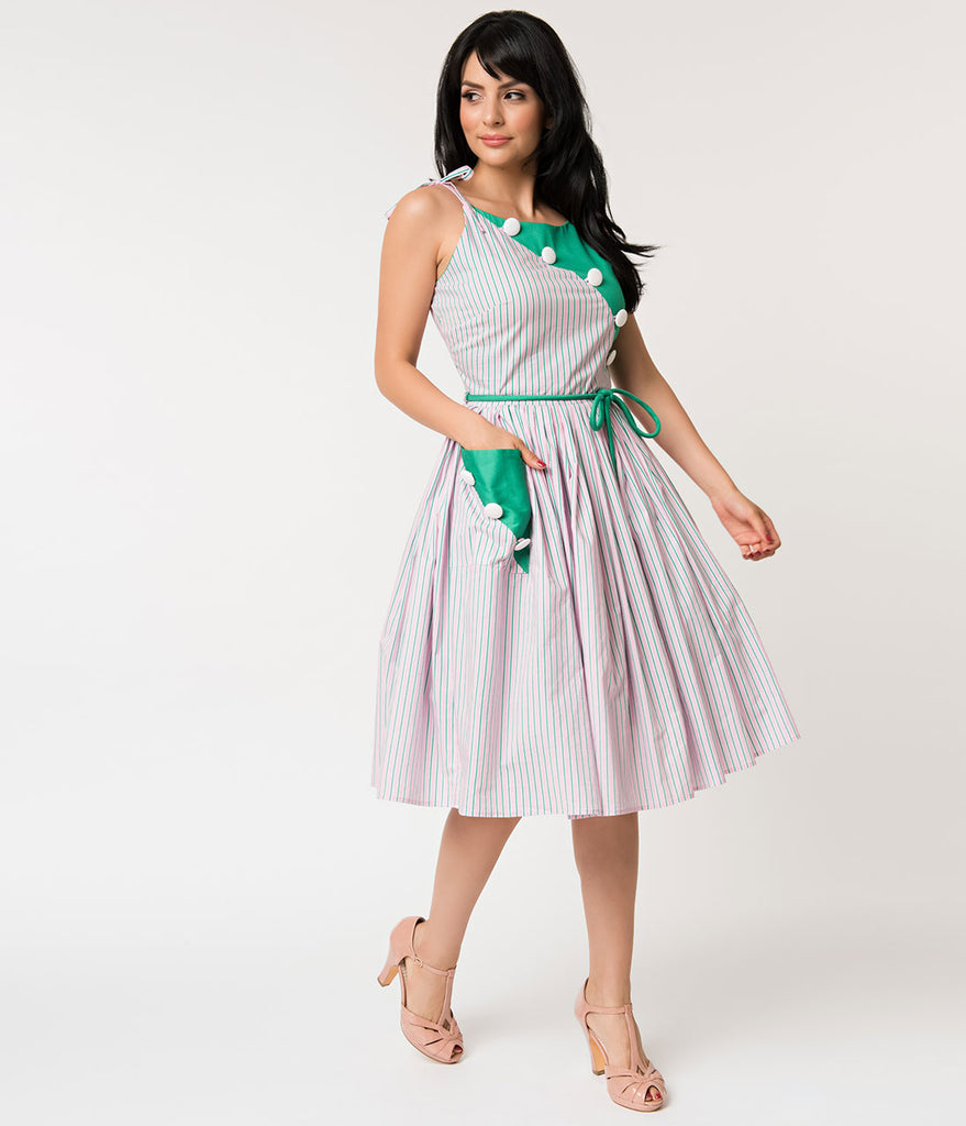 Unique Vintage 1950s Style Green & Pink Stripe Hamilton Swing Dress