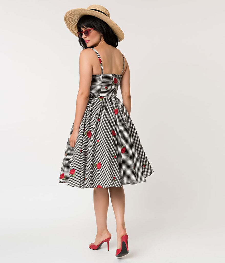 Unique Vintage 1950s Black & White Gingham Roses Print Golightly Swing Dress