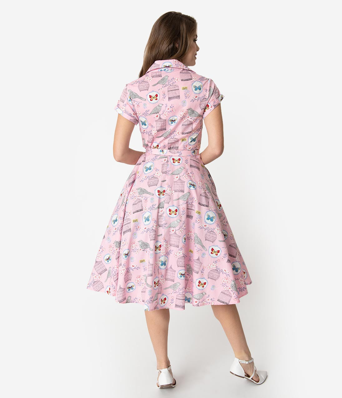 98a6d530d1a Unique Vintage 1950s Style Light Pink Antique Novelty Print Alexis Swing  Dress