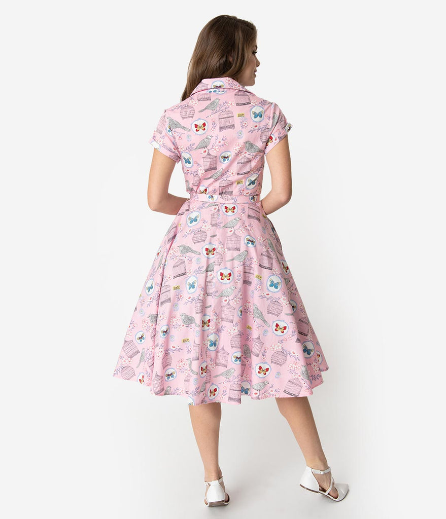 Unique Vintage 1950s Style Light Pink Antique Novelty Print Alexis Swing Dress