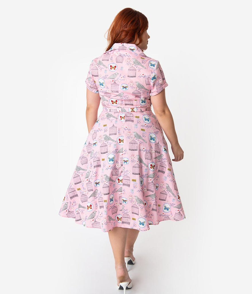 b1a94022b1c ... Unique Vintage Plus Size 1950s Style Light Pink Antique Novelty Print  Alexis Swing Dress ...