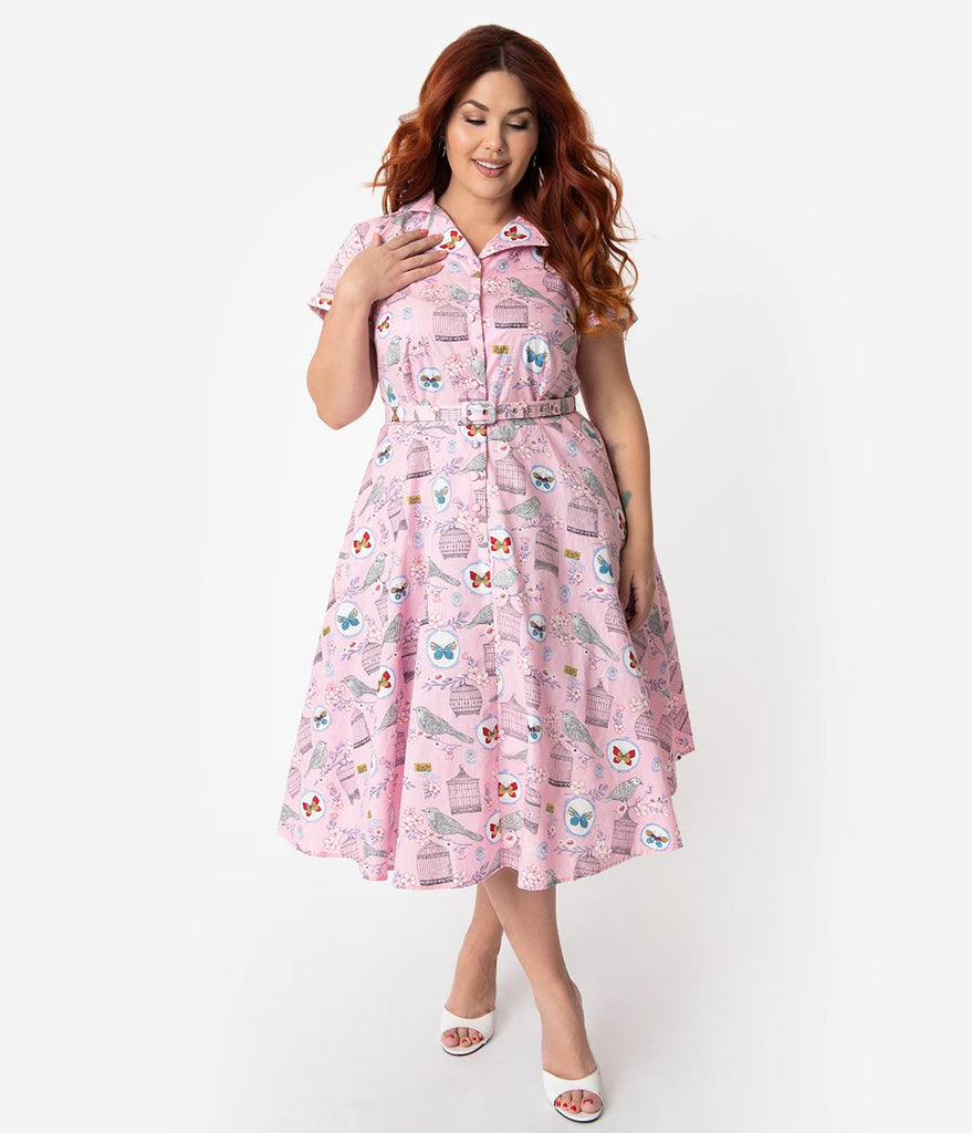 d09ab136bb5 ... Unique Vintage Plus Size 1950s Style Light Pink Antique Novelty Print  Alexis Swing Dress