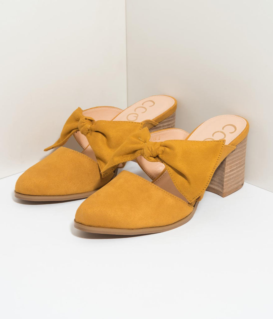Mustard Yellow Suede Bow Pointed Toe Mule Heels