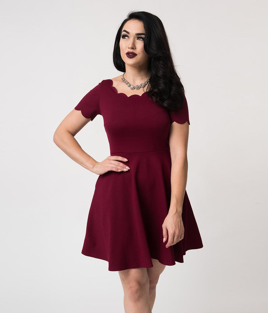 Wine Stretch Scalloped Short Sleeve Charmed Fit & Flare Dress