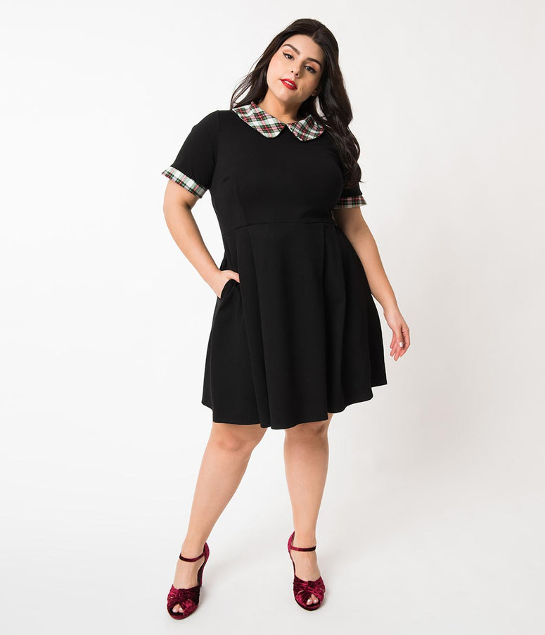 Plus Size Black & Plaid Collar Short Sleeve Babe Revolution Fit & Flare Dress