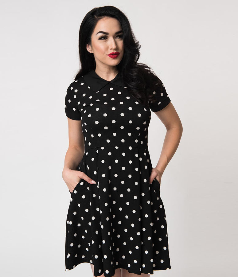 Black & White Polka Dot Short Sleeve Babe Revolution Fit & Flare Dress