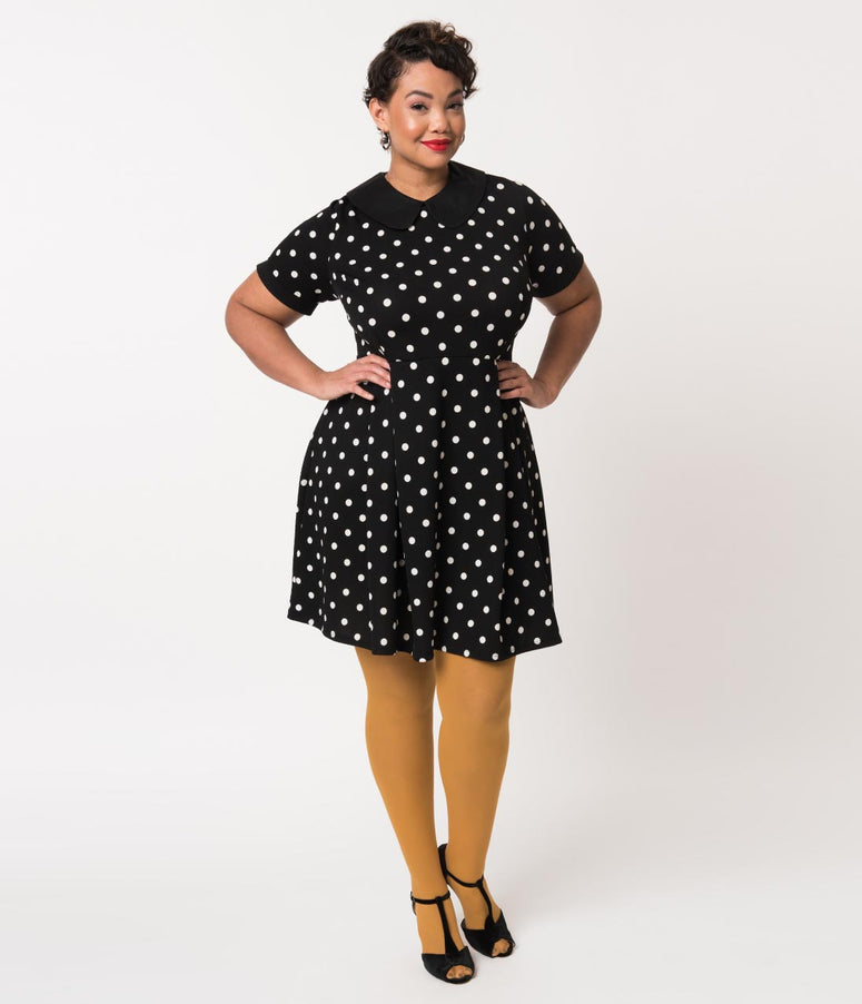 Plus Size Black & White Polka Dot Short Sleeve Babe Revolution Fit & Flare Dress