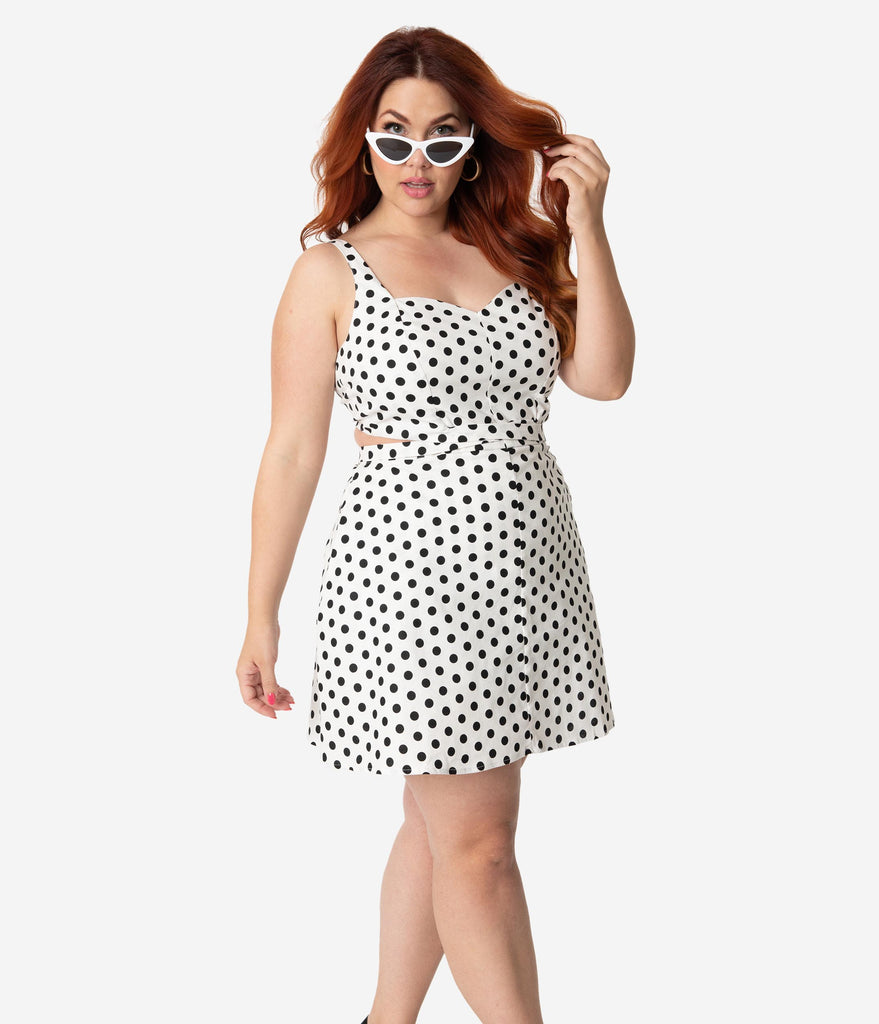 Unique Vintage Plus Size 1950s White & Black Retro Dotted Skirted Reynolds Romper