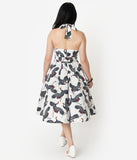 Unique Vintage White & Navy Crane Print Halter Tarrytown Hostess Dress