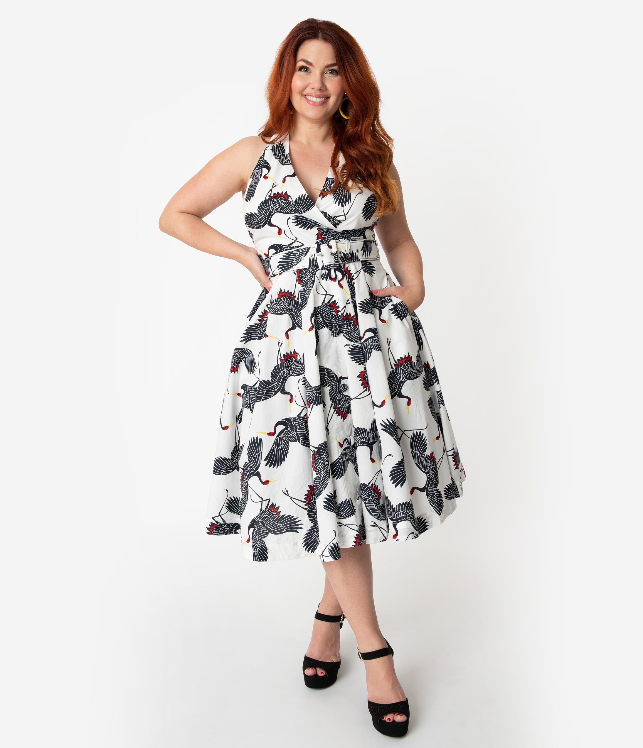 1950 Style Clothing- A Shopping Guide Unique Vintage Plus Size White  Navy Crane Print Halter Tarrytown Hostess Dress $74.00 AT vintagedancer.com