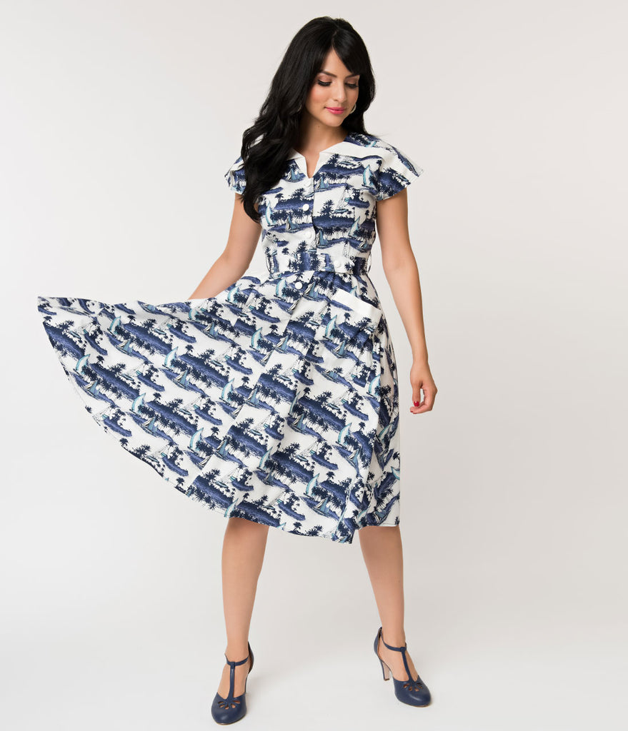 Unique Vintage 1950s Style White & Navy Sailboat Island Print Hedda Swing Dress