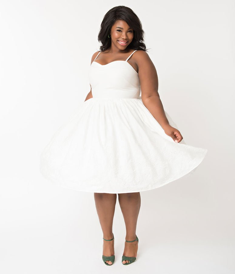f0337214bf3 Unique Vintage Plus Size 1950s Style White Cotton Eyelet Darcy Swing Dress