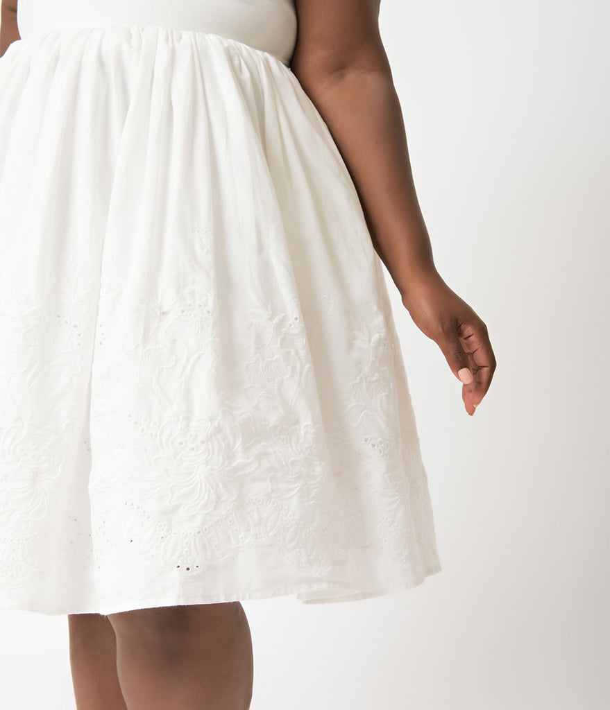 Unique Vintage Plus Size 1950s Style White Cotton Eyelet Darcy Swing Dress