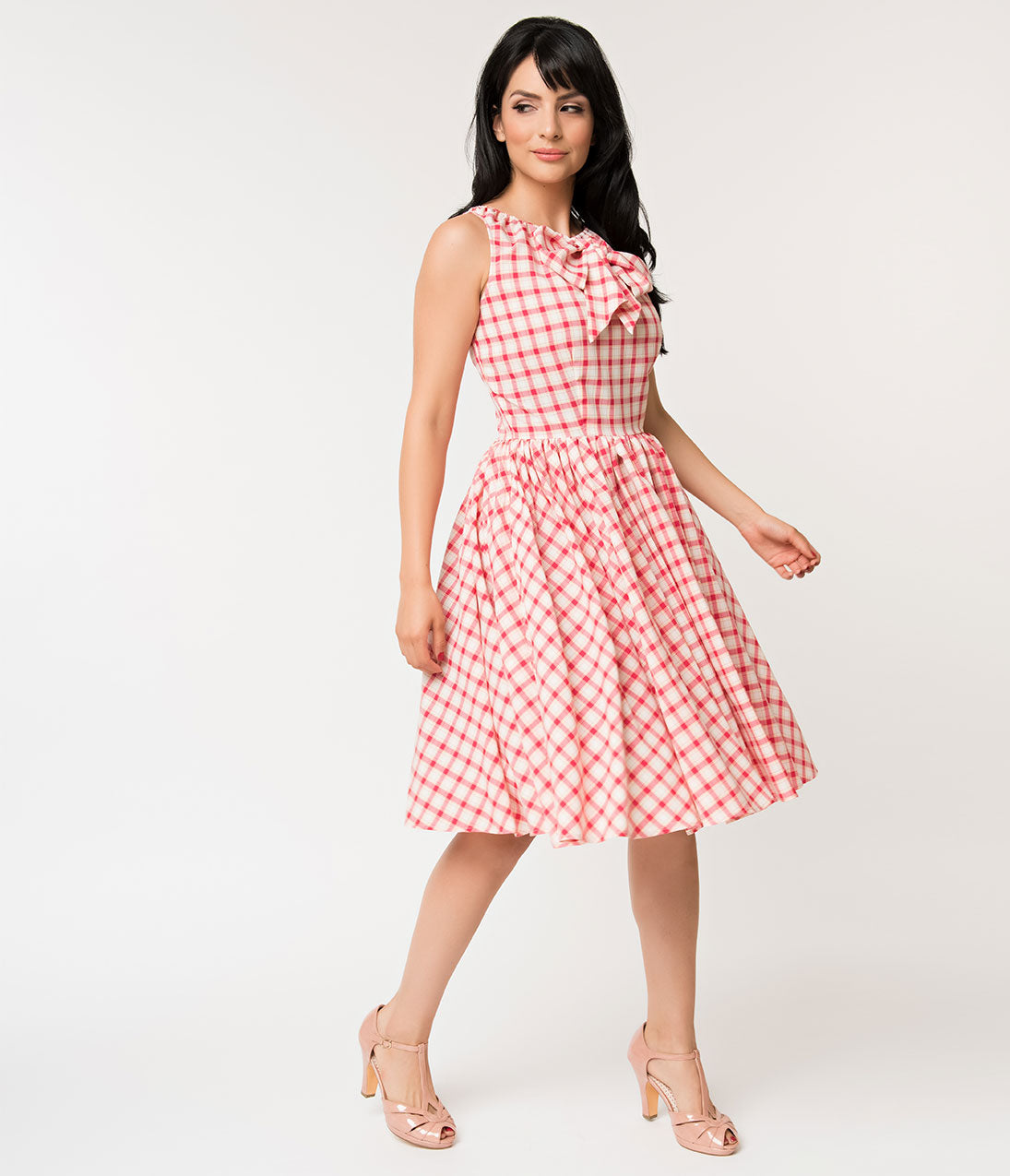 Fifties Dresses : 1950s Style Swing to Wiggle Dresses Unique Vintage 1950S Style Raspberry Pink Plaid Doheny Swing Dress $98.00 AT vintagedancer.com