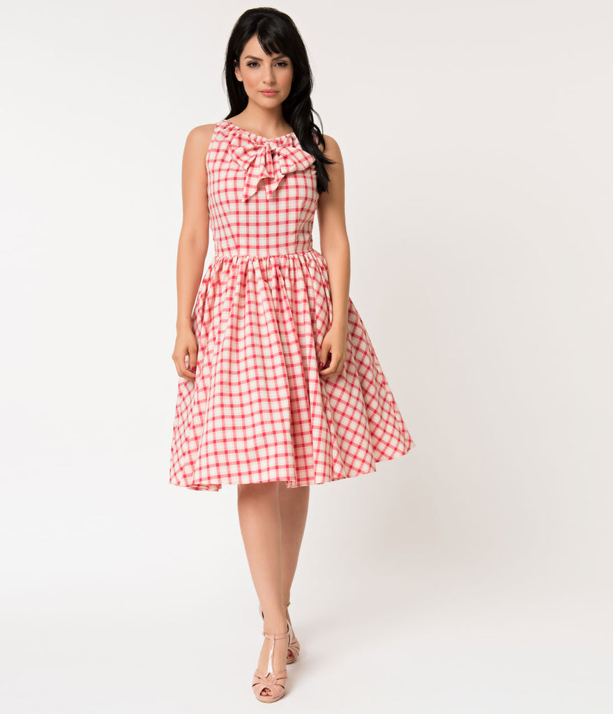 Unique Vintage 1950s Style Raspberry Pink Plaid Doheny Swing Dress