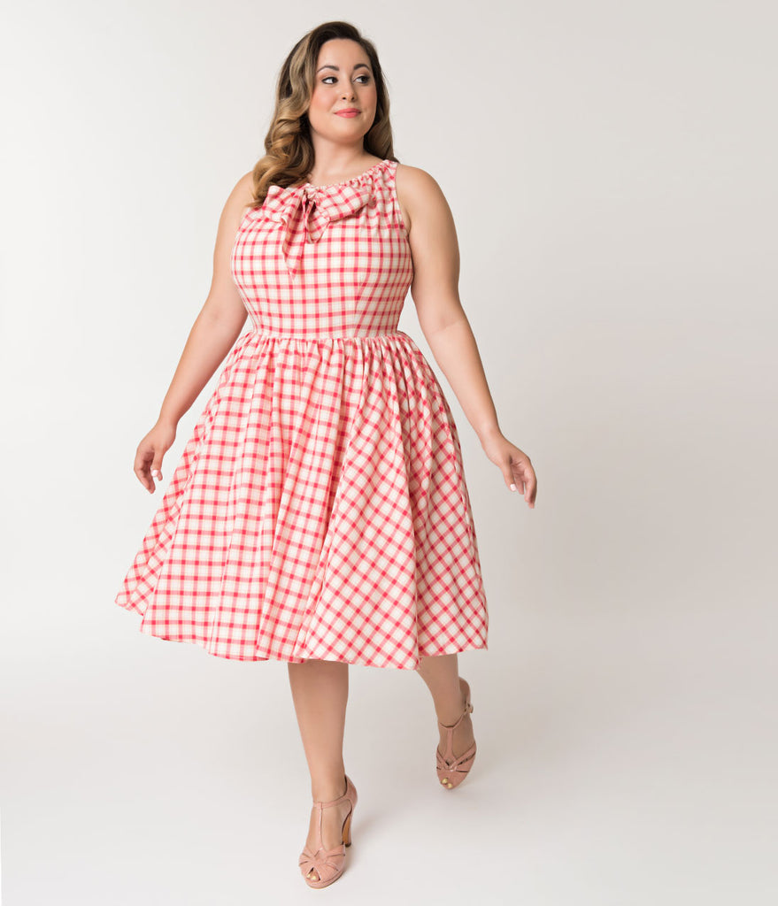 Unique Vintage Plus Size 1950s Style Raspberry Pink Plaid Doheny Swing Dress