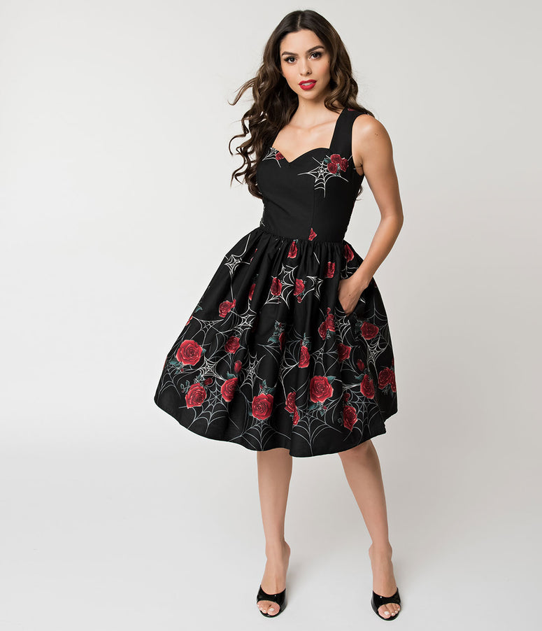 Hell Bunny Spiderweb and Rose Black Sabrina Swing Dress