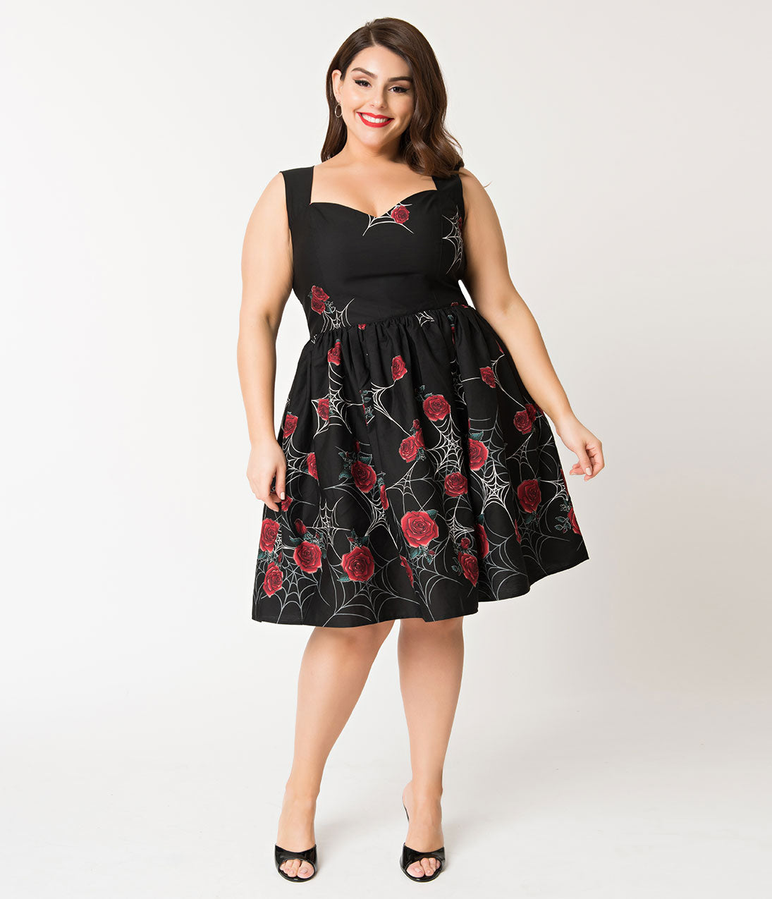 1950s Plus Size Dresses, Clothing and Costumes Hell Bunny Plus Size Black Spiderweb  Rose Sabrina Swing Dress $82.00 AT vintagedancer.com