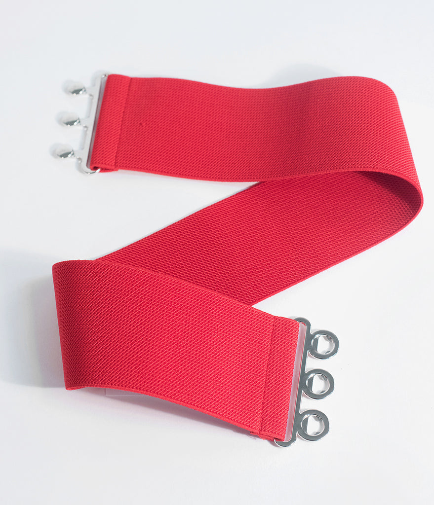 Hell Bunny 1950s Retro Style Red Cinch Belt