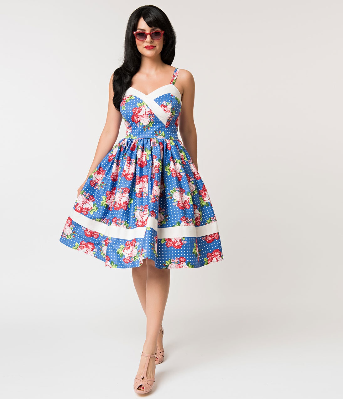 2a3d30c855 Unique Vintage Royal Blue   White Dot Floral Print Darienne Swing Dress