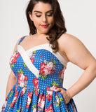 Unique Vintage Plus Size Royal Blue & White Dot Floral Print Darienne Swing Dress