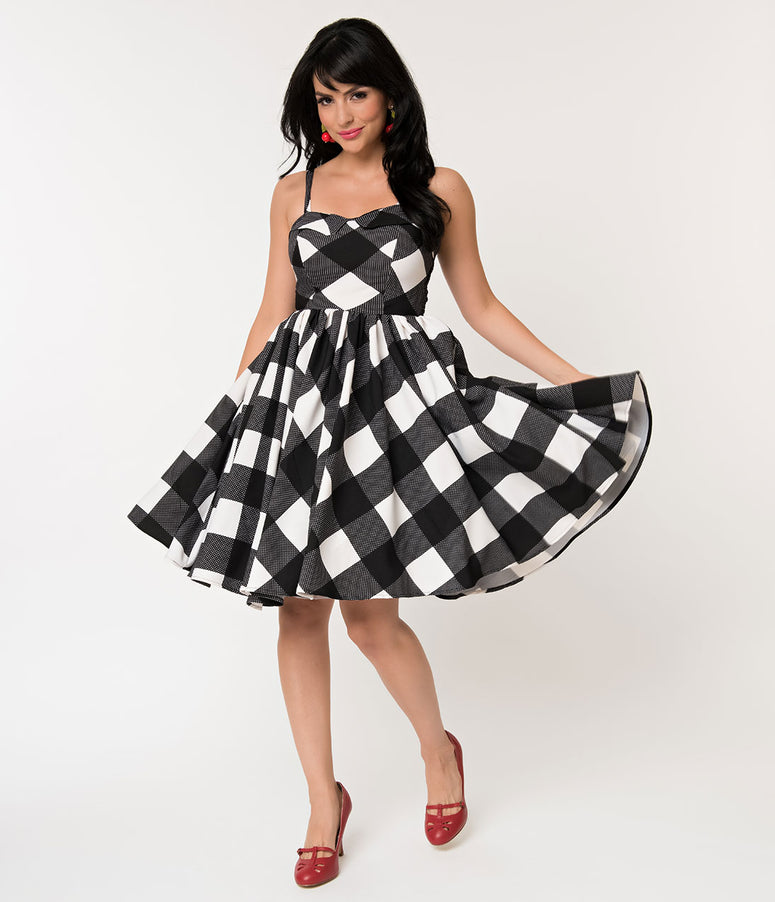 11e8ea42555 Unique Vintage 1950s Black   White Gingham Sleeveless Rachel Swing Dress