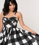 Unique Vintage 1950s Black & White Gingham Sleeveless Rachel Swing Dress