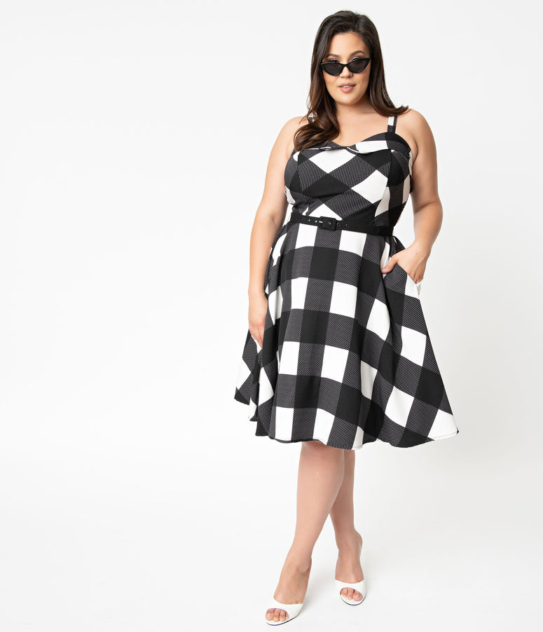f7356eba9e4 Unique Vintage Plus Size 1950s Black   White Gingham Sleeveless Rachel  Swing Dress