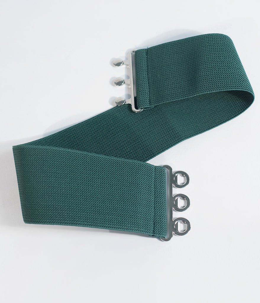 Hell Bunny 1950s Retro Style Green Cinch Belt