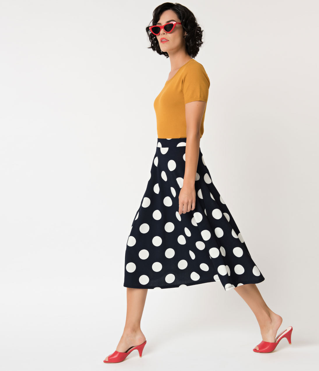 1950s Swing Skirt, Poodle Skirt, Pencil Skirts Retro Style Navy  White Polka Dot High Waist Flare Skirt $32.00 AT vintagedancer.com