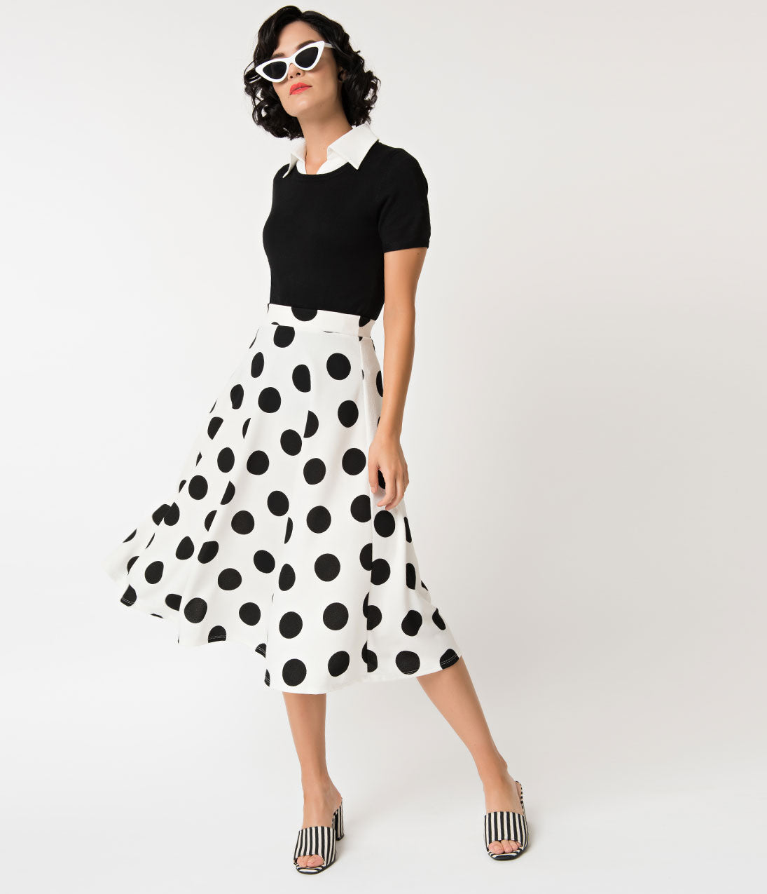 1950s Swing Skirt, Poodle Skirt, Pencil Skirts Retro Style Black  White Polka Dot High Waist Flare Skirt $32.00 AT vintagedancer.com